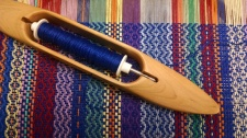blue twill stripes on loom, Misti